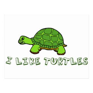 I Like Turtles Green Cute Postcard