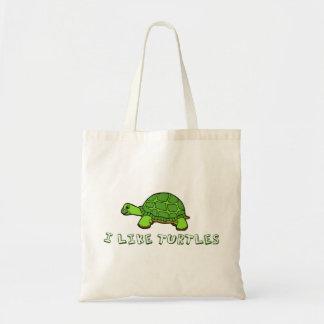 I Like Turtles Green Cute Tote Bag
