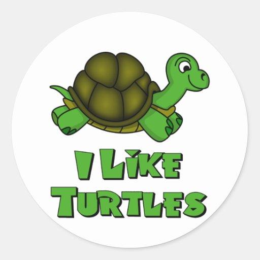 I Like Turtles Round Sticker