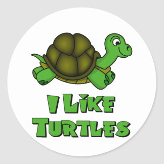 I Like Turtles Classic Round Sticker
