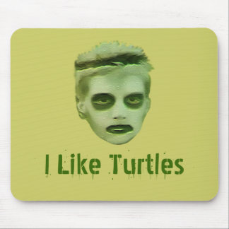 I Like Turtles Zombie Kid Mousepad