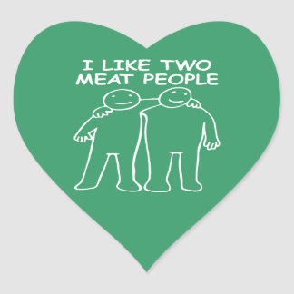 I LIKE TWO MEAT PEOPLE white image Heart Sticker