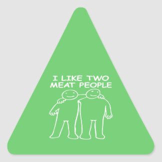 I LIKE TWO MEAT PEOPLE white image Triangle Sticker