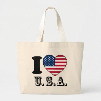 I Like USA - United Sates of America Flag-Heart Tote Bag