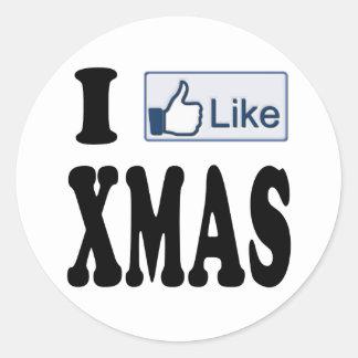 I Like XMAS Christmas Classic Round Sticker
