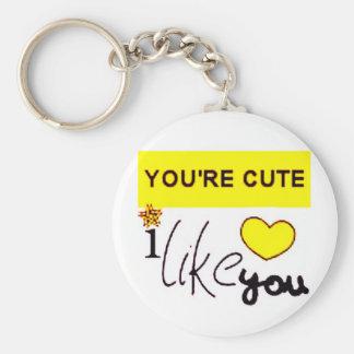 I Like You Basic Round Button Keychain