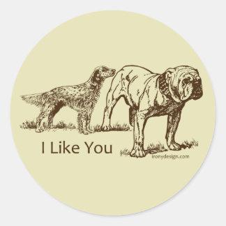 I Like You Dog Humor Classic Round Sticker