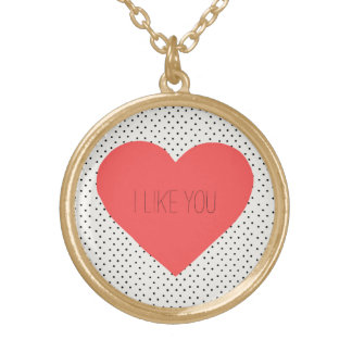 I like you Heart Gold Plated Necklace