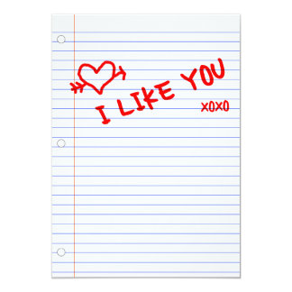i like you : notebook paper card