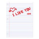 i like you : notebook paper postcard