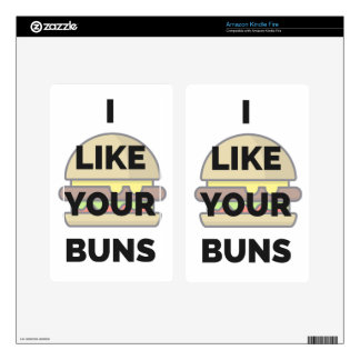 I Like Your Buns Hamburger Humor Illustration Decal For Kindle Fire