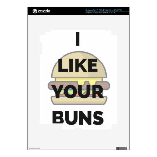 I Like Your Buns Hamburger Humor Illustration iPad 3 Skin