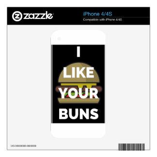 I Like Your Buns Hamburger Humor Illustration iPhone 4S Skin