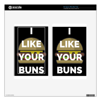 I Like Your Buns Hamburger Humor Illustration Kindle Fire Decals