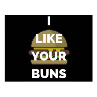 I Like Your Buns Hamburger Humor Illustration Postcard