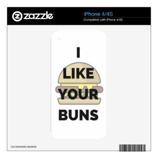 I Like Your Buns Hamburger Humor Illustration Skin For iPhone 4S