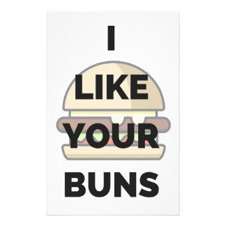 I Like Your Buns Hamburger Humor Illustration Stationery