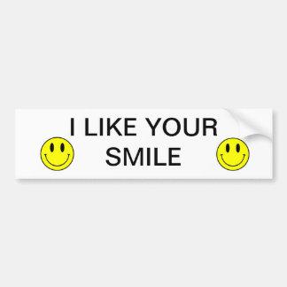 I LIKE YOUR SMILE BUMPER STICKER