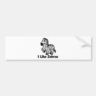 I Like Zebras Bumper Sticker