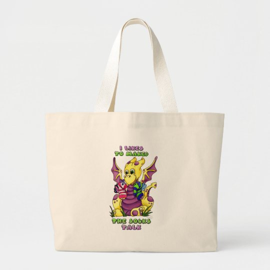 I Likes to Maked the Socks Talk cute baby dragon Large Tote Bag