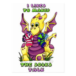 I Likes to Maked the Socks Talk cute baby dragon Postcard