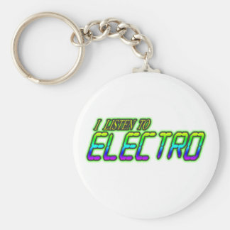 I LISTEN TO ELECTRO BASIC ROUND BUTTON KEYCHAIN
