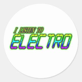 I LISTEN TO ELECTRO CLASSIC ROUND STICKER