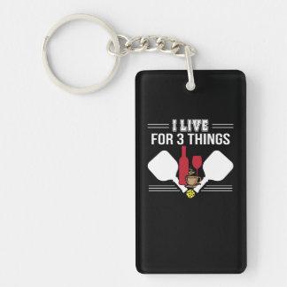 I Live 3 Things Coffee Wine Pickleball Keychain