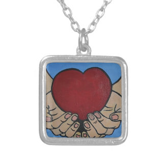 I live 4 U Silver Plated Necklace
