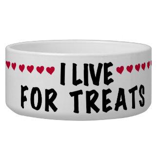 I Live For Treats Pet Dish