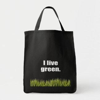 I live green. canvas bag
