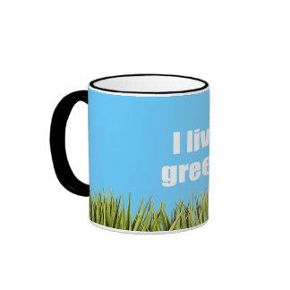 I live green. coffee mug