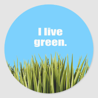 I live green. round stickers