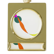 I Live in My Brain Gold Plated Banner Ornament