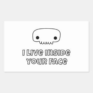 I live inside your face skull rectangular sticker
