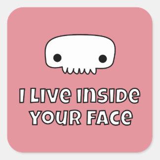 I live inside your face skull square sticker