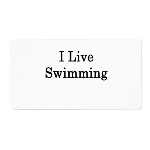 I Live Swimming Shipping Label