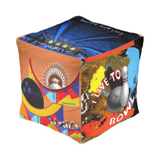 I live to bowl cube pouf