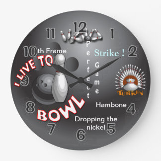 I Live to Bowl Large Clock