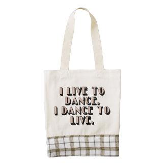 I live to dance. I dance to live. Zazzle HEART Tote Bag