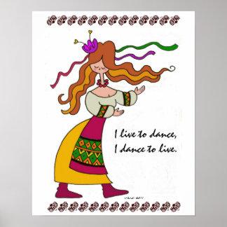 I Live to Dance Ukrainian Folk Art Poster
