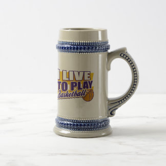 I Live to Play Basketball Beer Stein