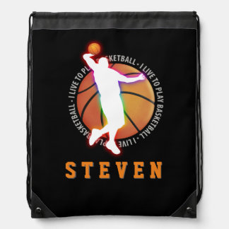 I LIVE TO PLAY BASKETBALL   Sport Gift Drawstring Backpack