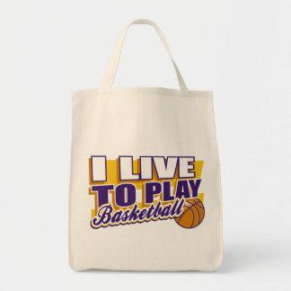 I Live to Play Basketball Tote Bag