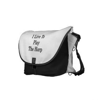 I Live To Play The Harp Messenger Bag