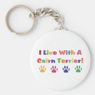 I Live With A Cairn Terrier Keychain