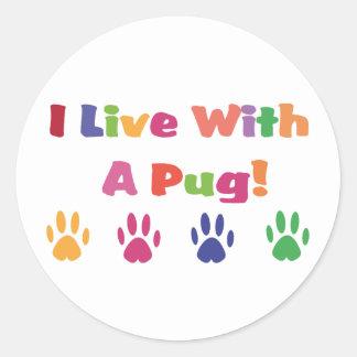 I Live With A Pug Sticker