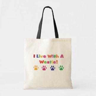 I Live With A Westie / West Highland White Terrier Tote Bag