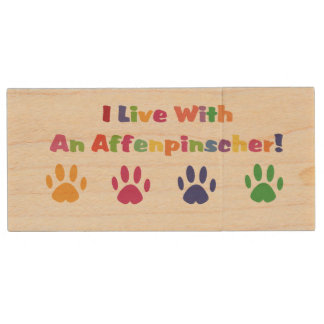 I Live With An Affenpinscher Wood USB 2.0 Flash Drive