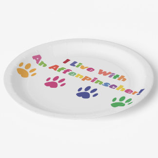 I Live With An Affenpinscher Paper Plate